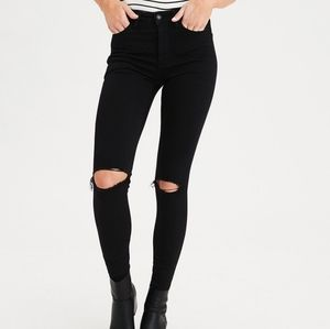 AEO super high rise black jeggings x long 6